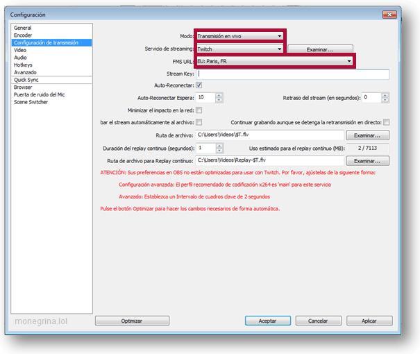 Configurar OBS Twitch 2