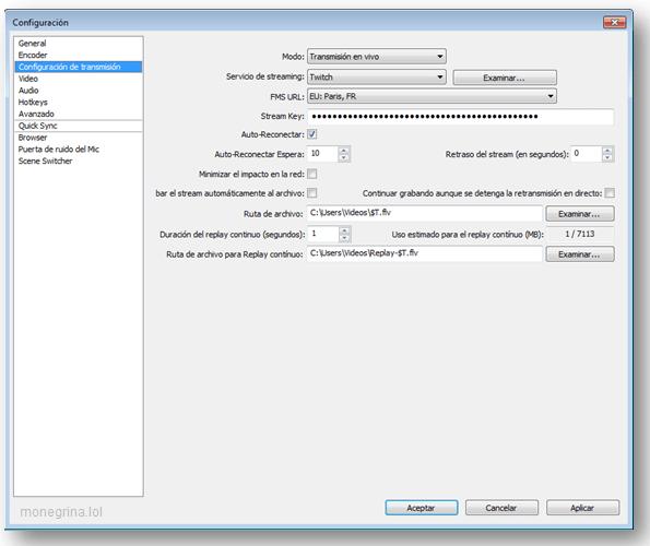 Configurar OBS Twitch 6