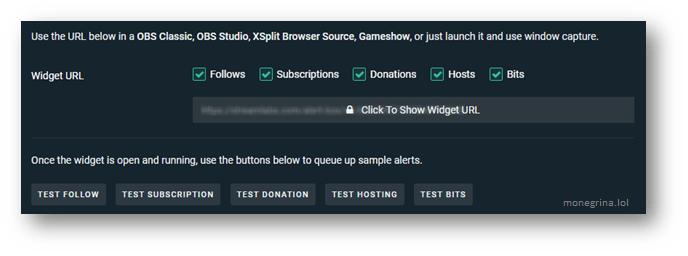 Poner alertas en Twitch, Copiar URL de widget