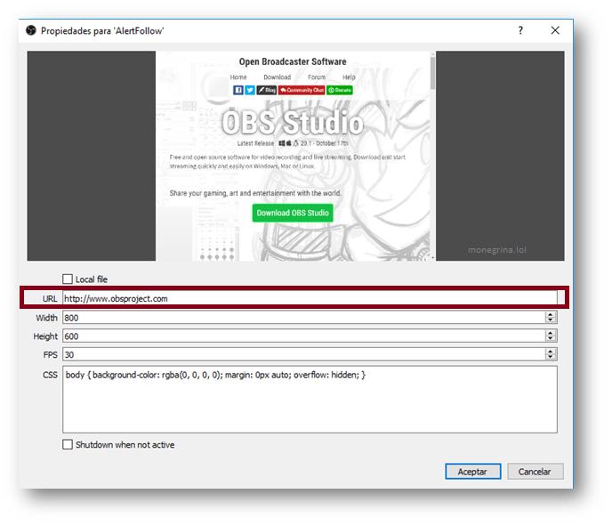 Poner alertas en Twitch, Pegar URL Dentro de la fuente BrowserSource en OBS Studio