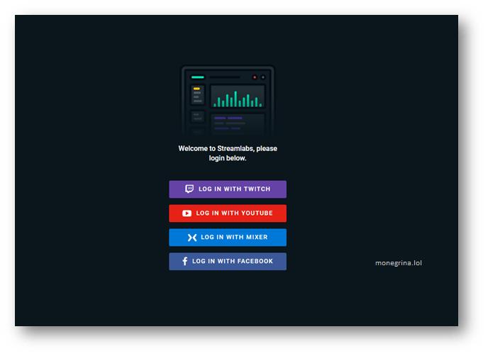 Poner alertas en Twitch, Iniciar sesión en StreamLabs